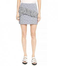 BCBGMAXAZRIA Aneta Skirt // Textured fringe skirt in Light Haze Combo