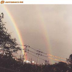 今朝は各地で大雨がふってた様ですね(^^;) 雨が上がった後の空を見ると虹が・・! しかもダブルで出ていました! 良いことありそう♬