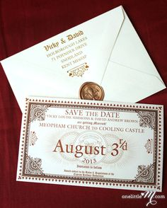 Hogwarts Express Ticket save the dates! these make me want a Harry Potter inspired wedding SO bad Hogwarts Express Ticket save the dates! these make me want a Harry Potter inspired wedding SO bad! Party Harry Potter, Harry Potter Fiesta, Harry Potter Wedding, Harry Potter Birthday, Harry Potter Hogwarts, Harry Potter Ticket, Harry Potter Invitations, Wedding Party Invites, Wedding Invitation Envelopes