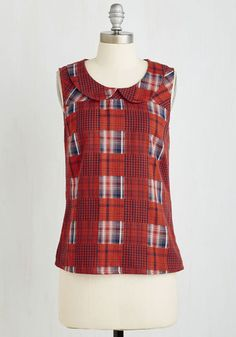 Let Me Patchwork It Top in Paprika - Red, Plaid, Print, Peter Pan Collar, Work, Casual, Sleeveless, Woven, Good, Exclusives, Variation, Collared