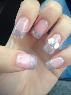 Acrylic Nails with bow and glitter French tips