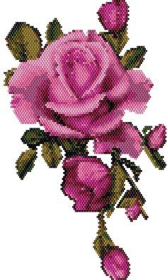 Peyote brick stitch pattern necklace Roses - Roc Miyuki or Delica Miyuki - Tutorial pdf 888 Beading Patterns Free, Beaded Bracelet Patterns, Bead Loom Patterns, Beading Tutorials, Seed Bead Flowers, Beaded Flowers, Cross Stitch Rose, Cross Stitch Flowers, Crafts