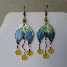 Copper, Drop Earrings, Flowers, Jewelry, Jewlery, Bijoux, Florals, Schmuck, Drop Earring