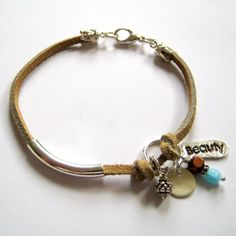 Boho love: leather bracelet with bead charms. #bohemian #jewelry #jewellery