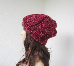 Knit warm winter hat soft wool blend bulky ribbed beanie pink