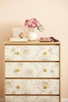 decorating furniture with paper. Despite The Name, Wallpaper Isn\u0027t Exclusively For Walls. The Material Can  Give A Plain Dresser Patterned Wake-up Call. Self-adhesive Wallpapers Make Decorating Furniture With Paper
