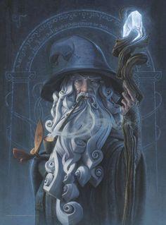 Gandalf (Der Herr der Ringe) von Jerry Vanderstelt - Game Of Thrones // Games and Movies World // Welcome Gandalf, Legolas, Jrr Tolkien, Art Hobbit, Middle Earth, Fantasy Characters, Dungeons And Dragons, Fantasy Art, Fantasy Wizard