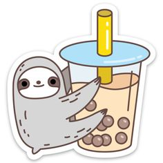cute sloth Water and scratch resistant Sloth Loves Bubble Tea vinyl sticker for decorating your Laptop, phone, door, water bottle, skateboard and etc. It makes the perfect gift for any slot Stickers Cool, Bubble Stickers, Food Stickers, Meme Stickers, Kawaii Stickers, Printable Stickers, Planner Stickers, Journal Stickers, Bubble Tea