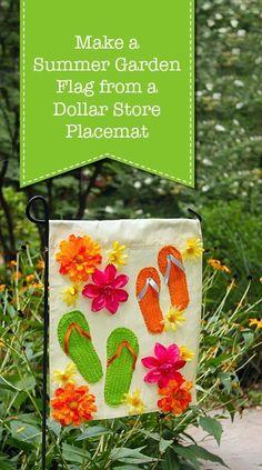 Summer Garden Flag from a Dollar Store Placemat - Pretty Handy Girl Garden Crafts, Diy Garden Decor, Garden Tips, Garden Projects, Dollar Store Crafts, Dollar Stores, Diy Arts And Crafts, Fun Crafts, Decor Crafts