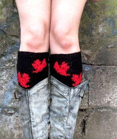 Women's Boot Cuffs Heart Red Black Heart Knit Boot by EmofoFashion, $24.00