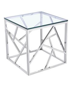 Tempered Glass Modern Stainless Steel Cube Coffee Table #