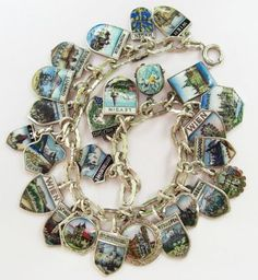 Vintage Charm Bracelet Collection - Old Silver & Enamel Shield Charm Bracelet: