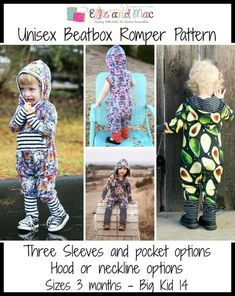 Unisex Beatbox Romper Pattern - Ellie and Mac, Digital (PDF) Sewing Patterns Sewing Patterns For Kids, Sewing Projects For Beginners, Sewing For Kids, Baby Patterns, Ellie And Mac Patterns, Diy Projects, Pdf Patterns, Pattern Ideas, Design Projects