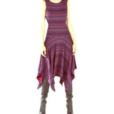 ⭐️HP⭐️Brand New BCBG Maxazria Eleyna Dress! ELEYNA STRIPED ASYMMETRICAL KNIT JACQUARD DRESS BCBG Maxazria mid length dress. It's longer on the sides. It's color is the Ruby combo, navy, red & pink! It looks purplish with the color combo. Brand new! Very bouncy & Flowy BCBGMaxAzria Dresses Midi