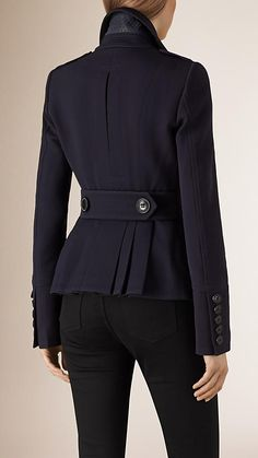 b434e71e775 Navy Leather Detail Virgin Wool Blend Pea Coat Burberry Trouser Suits