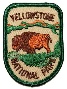"""Souvenir Patch """"Yellowstone National Park"""" Wyoming Bison Badge Iron-On Applique New Embroidered Iron-On Patch. Size is approximately wide and 2 tall. Cool Patches, Pin And Patches, Sew On Patches, Iron On Patches, Bison, Grand Teton National Park, National Parks, Wyoming, National Park Patches"""