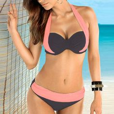 c476d6f5746d8 Muqgew Women Push Up Patchwork Brazilian Bikini Padded Low Rise
