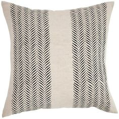 One Kings Lane Printed 18x18 Linen Pillow - Natural