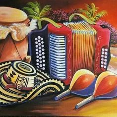 . Colombian Culture, Colombian Art, Painted Hats, Hand Painted, Decoupage, Vintage Travel Posters, Kitchen Art, Art Music, Art Drawings