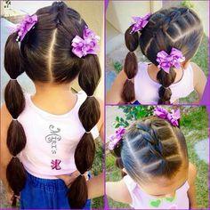 Chiquis peinados Pretty Hairstyles, Lil Girl Hairstyles Braids, Little Girl Hairdos, Girls Hairdos, Princess Hairstyles, Little Mixed Girl Hairstyles, Hairstyle For Kids, Hair Dos For Kids, Braids For Kids