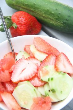 Cucumber, Strawberry, and Watermelon Salad with Pompeian Red Wine Vinegar