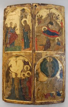 Icon with four Church feasts  Byzantine, AD 1310-20 From Constantinople (modern Istanbul, Turkey) or Thessaloniki, Greece  The Nativity, Annunciation, Baptism and TransfigurationBM