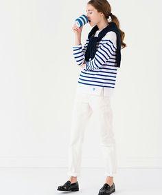ORCIVAL(オーシバル)の【ORCIVAL(オーシバル)】ラッセル フレンチセーラーTシャツ WHT/BLU(Tシャツ/カットソー)|詳細画像