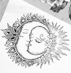 trendy tattoo moon mandala coloring pages Moon Sun Tattoo, Sun Tattoos, Love Tattoos, Beautiful Tattoos, Body Art Tattoos, Tattoo Drawings, Tattos, Mandala Tattoo Design, Mandala Arm Tattoo