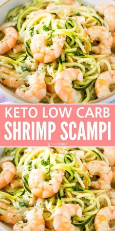 keto shrimp scampi made with zucchini noodles or you could use spaghetti squash it s a quick and easy low carb recipe that s an easy lunch or dinner option gluten free recipe Low Carb Shrimp Recipes, Zucchini Noodle Recipes, Seafood Recipes, Salmon Recipes, Chicken Recipes, Shrimp With Zucchini Noodles, Spaghetti Squash Shrimp Scampi, Gluten Free Zucchini Recipes, Low Carb Zucchini Recipes