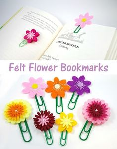 Kids can make fun crafts for Mother's Day - like these felt flower bookmarks! #funcrafts