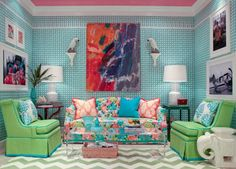 Furniture and pillows done in Lilly Pulitzer fabric. Find Lilly Pulitzer fabric at http://www.housefabric.com/Lilly-Pulitzer-Fabric-C2230.aspx
