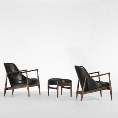 Ib Kofod-Larsen pair of Elizabeth chairs with ottoman.