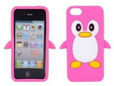 New Cute Penguin Silicone Soft Case Cover for Apple iPhone 5 Hot Pink (SHIPPING CHARGES APPLY)