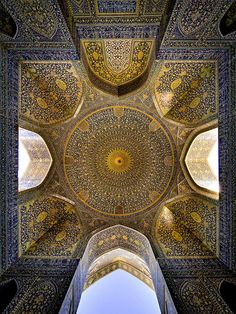 Ceiling view of Imam Mosque, Isfahan, Iran. It is regarded as one of the masterpieces of Persian Architecture. by Mohammad Reza Domiri Ganji Art Et Architecture, Persian Architecture, Beautiful Architecture, Beautiful Buildings, Architecture Details, Mosque Architecture, Ancient Architecture, Magic Places, Art Du Monde