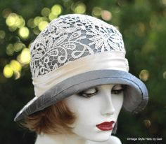 20S sombrero Vintage estilo Cloche boda novia seda por GailsHats