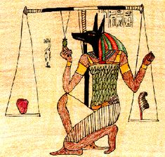 Anubis God of the Dead. Judge for the afterlife, measures one's heart against a feather.