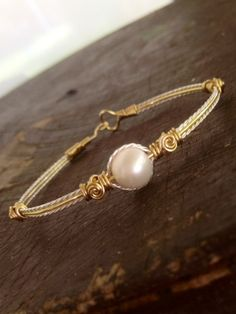 Fresh Water Pearl Bracelet Wire Wrapped Handmade Pearl Jewelry Silver and Gold Bracelet