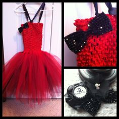 Chanel inspired tutu with a matching headband.  Please visit my page on Facebook @aprilshowersboutique6