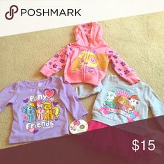 3pcs Character tops 12m 1 paw control characters pink hooded zip up sweater NWOT                                                        1 paw control character gray and pink tutu sweater dress NWT.                                                                       1 lilac pony friends long sleeve tshirt Nickelodeon Shirts & Tops Sweaters