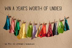 Enter to win a year's worth of undies below!