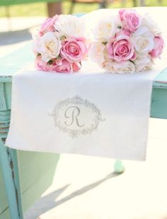 Personalized Table Runner from Rusic Wedding Chic. This sight has tons of inspiration for parties.