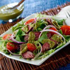 Caribbean Chimichurri Steak Salad #GrillBeef #LeanSteakOnTheGrill