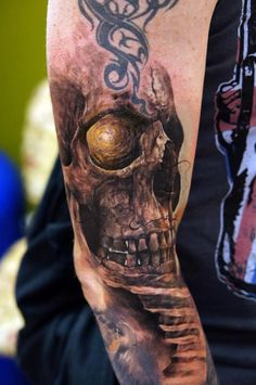 Mind blowing tattoo by Domantas Parvainis. Just take a look in the eye of the skull! You can get in right? #tattoo #tattoos #ink
