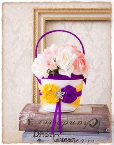 Cadbury Purple and Yellow Flower Girl Basket Flower by BridalQueen Cadbury Purple Wedding, Purple And Gold Wedding, Purple Gold, Flower Girl Basket, Yellow Flowers, Wedding Accessories, Wedding Decorations, Cake, Unique Jewelry