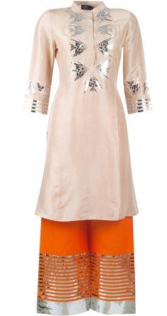 Beige silk kurta set by SURENDRI BY YOGESH CHAUDHARY. Shop at http://www.perniaspopupshop.com/whats-new/surendri-by-yogesh-chaudhary-beige-silk-kurta-set-ycc0913set1.html