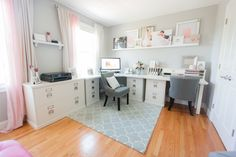Pink and gray office  Photography: Deborah Zoe Photography - www.facebook.com/deborahzoephotography  Read More: http://www.stylemepretty.com/living/2014/10/02/pink-gray-home-office/