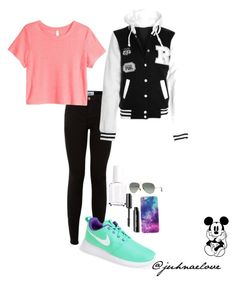 """Okay Day............"" by juhnaelove on Polyvore featuring NIKE, H&M, Ray-Ban, Essie and Disney"