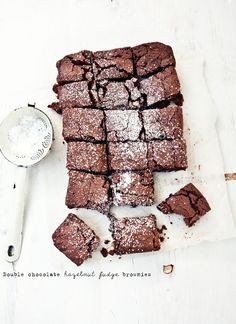 double chocOlate hazelnut fudge brownies
