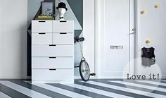 A hallway with a white chest of drawers with two yellow and five white drawers Ikea Inspiration, Vestibule, Nordli Ikea, Tall Cabinet Storage, Locker Storage, White Chest Of Drawers, Diy Drawers, Decoration, Home Furnishings
