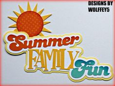 CRAFTECAFE FAMILY SUMMER TITLE paper pieces premade Scrapbook page die WOLFFEY5 #HANDMADE